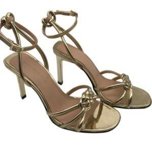 ZARA braided gold mirror stiletto heels 39 8.5